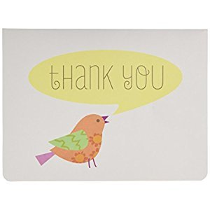CRG C.R. Gibson Boxed Thank You Notes, Lil' Birdie, 10 Count
