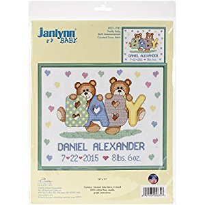Janlynn 021-1785 Tedd Baby Birth Announcement Cross Stitch