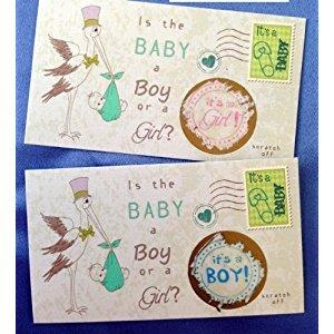 Gender Reveal Sex Scratch off Cards - Vintage Stork design - 25 Cards - (Pink~ Girl)