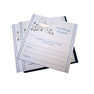 White Cotton Cards Baby Boys Announcement Cards and Envelopes (Blue, Pack of 8)