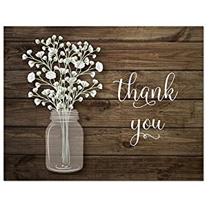 50 Baby Breath in Mason Jar Wedding Thank You Cards + Envelopes