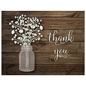 50 Baby Breath in Mason Jar Wedding Thank You Cards + Envelopes