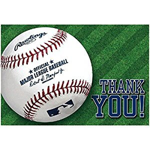 Amscan Baseball Dream Rawlings Postcard Thank You Card (Pack of 8), Multicolor, 4