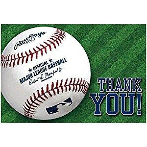 Amscan Baseball Dream Rawlings Postcard Thank You Card (Pack of 8), Multicolor, 4