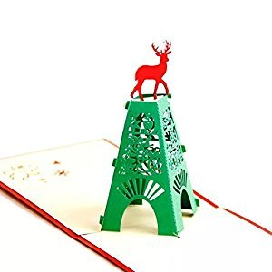 BonusLife 3D Cards Pop Up Birthday Gift Greeting Cards Thank You Cards Iron Tower Deer