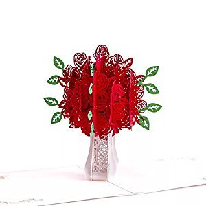 BonusLife 3D Cards Pop Up Birthday Gift Greeting Cards Thank You Cards Red Rose