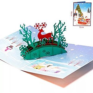 BonusLife 3D Cards Pop Up Birthday Gift Greeting Cards Thank You Cards Santa