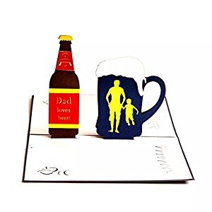 WoodBury 3D Pop Up Card Birthday Gift Greeting Cards Thank You Card Beer