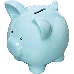 Blue Ceramic Piggy Bank / Blue Pig Money Box
