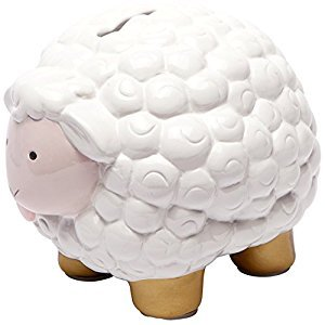 CRG Ceramic Bank, Pink and Gold Sheep