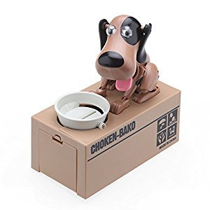 Cute Dog Mechanical Piggy Bank, ONEVER Automatic Robotic Hungry Dog Coin Bank Money Saving Box for Kids,Black Coffee