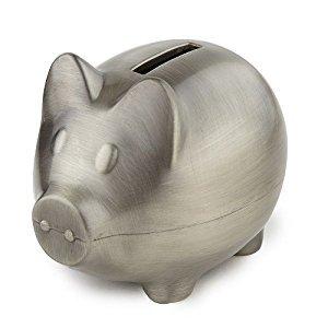 Elegance 80035 Piggy Bank Pewter Finish Plain, Silver
