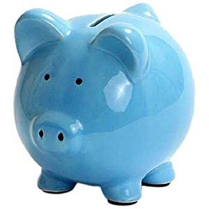 Kangaroo 1002 Ceramic Piggy Bank, 6-Inch, Blue