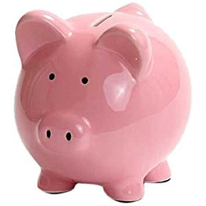 Kangaroo 1003  Ceramic Piggy Bank, 6-Inch, Pink