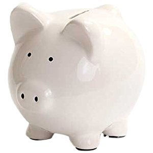Kangaroo Ceramic Piggy Bank, White, 6-Inch