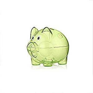 Korowa Transparent Plastic Money Saving Box Case Coins Piggy Bank Cartoon Pig Shaped Birthday Present