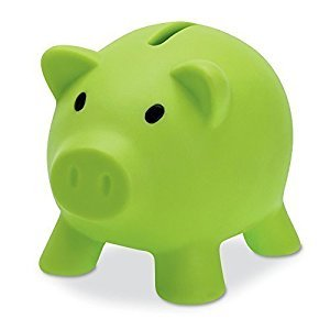 PIGGY BANK - Money Box for saving Coins & Cash FUN GIFT PLASTIC NOVELTY PIG SAFE (Green) by eBuyGB