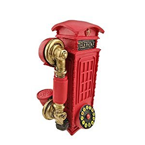 Vintage Resin London Telephone Booth Pattern Popular Piggy Bank Money Box Home Decoration Christmas Birthday Festival Kids Gifts (Red)