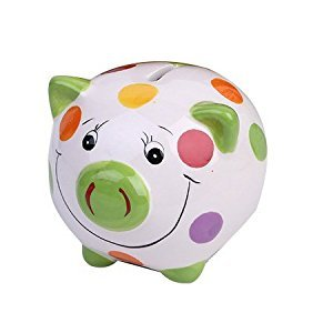 ZCHING Ceramic Pig Piggy Bank Savings Coin Banks Personalized Nursery Decor for Kids Baby Girl Gift (green)