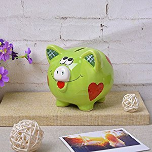 ZCHING Pig Piggy Bank for Baby Kid Girl Gift Nursery Decor (green)