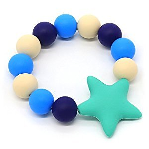 Baby Teether Ring Bracelet Silicone Teething Ring Food-Grade Baby toys BPA-Free (Blue)