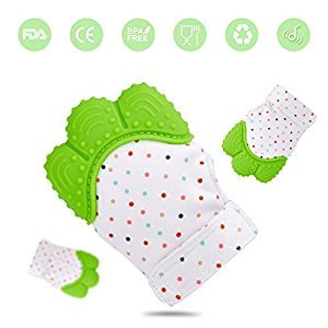Baby Teething Mitten, Self Soothing Teething Mitt Teether | Pain Relief Toy BPA FREE Safe Food Grade Teething Glove (Green) - 1 Pcs