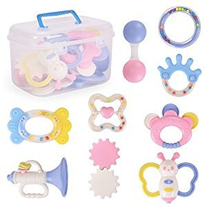 NextX Baby Toys Rattles and Teethers Educational Musical Gift Set with Storage Case,Infants Toys 9 PCS