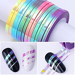 NICOLE DIARY 18 Rolls Mermaid Nail Striping Tape Line Candy Color Adhesive Sticker DIY Nail Art Decorations 6 colors (Mixed Width)