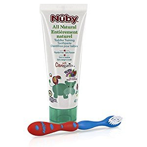 Nuby Citroganix Toddler Toothpaste with Toothbrush - Red/Blue