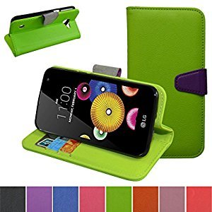 LG K4 Case,LG Optimus Zone 3 Case,LG Spree Case,Mama Mouth [Stand View] Flip PU Leather [Wallet Case] With Credit Card Slots Cover For LG K4/Optimus Zone 3/LG Spree Smartphone,Green