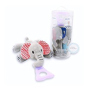 4 in 1 Pacifier holder, Pacifier case, Silicone teether, Visual stimulation, Elephant
