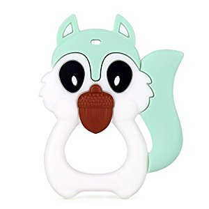 BPA FREE Best Silicone Teether Squirrel Teething Baby Infant Training Teether (White)