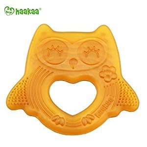 Haakaa Natural Owl Sleeping Baby Teether Natural Rubber Teething Made in Malaysia PVC and BPA Free(Smiling)