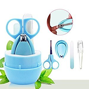 Baby Grooming Kit, niceEshop(TM) 4 In1 Safety Baby Nail Clippers Set Includes Nail Clipper, Safety Scissor, Nasal Tweezers and Nail File for Newborn, Baby, Infant, Toddler and Kids, Blue
