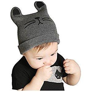 Cute Lovely Unusal Baby Infant knitted cap Cat Ear Beanie Winter Warm Hat(Gray)