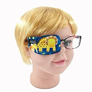 Party Bar. Cartoon Pure Cotton Reusable Kids Eye Patch, Amblyopia Eye Patches For Glasses, Strabismu (Yellow R)