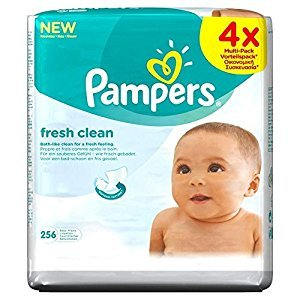 Pampers Fresh Clean Baby Wipes (64 per pack x 4) - Pack of 6