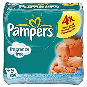 Pampers Natural Clean Fragrance Free Baby Wipes (64 per pack x 4) - Pack of 6