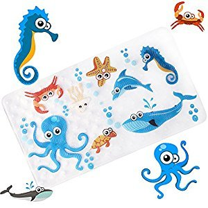 Non-Slip Bath Mat Bathtub and Shower Mat for Baby Kid's,Anti-Bacterial,Machine Washable,Large Toddler Rubber Anti Non Skid Bath Matts Fits Any Size Bath Tub,16inchx27inch (Sea world)