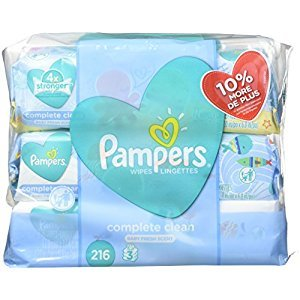 Pampers Baby Wipes Complete Clean SCENTED 3X Pop-Top, 216 Count