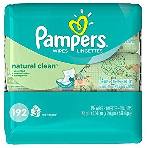 Pampers Baby Wipes, Natural Clean UNSCENTED, 3X Pop-Top Travel Packs, 192 Count (Packaging May Vary)