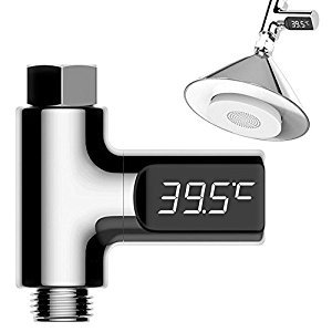 AAlight LED Display Water Shower Thermometer Flow Self-Generating Electricity Water Temperature Meter Monitor Home Baby Care