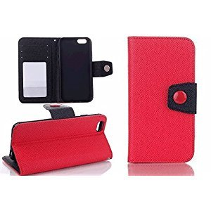 iPhone 8 Plus Case,YiMiky Ultra Slim Lightweight Colorful Hybrid Smart Flip Stand Premium PU Leather Card Holder Wallet Hard Shell Case for 5.5 inch iPhone 8 Plus(iPhone 8 Plus,Red)