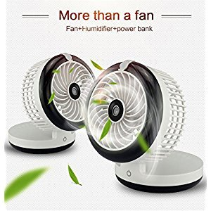 Mini Air Conidtioner Foldable Humidifier Fan,MeiLiio Air Conditioner Spray Fans, USB Desktop Cooling Misting Fan Beauty Humidifier,Power Bank to Charge iPhone X/8 Plus,Samsung S9 etc Phones (Black)