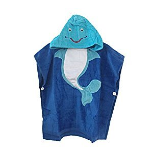 Floral hong Cotton Animal Toddler and Baby Hooded Towel Poncho (Blue Dolphin, 60x120cm)