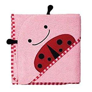 hibote Children Cartoon Bathrobe Bath Towel Cape Hollded Cotton (Pink Beetle)