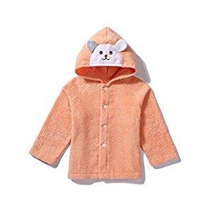 Tickos Toddler Animal Beach Towel Baby Cartoon Ponchos with Cotton Fleece (Pink)
