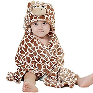 WONFAST Hooded Ultra-soft Flannel Kids Baby Bath Towels Animal Bathing Wrap Blanket,0-6 Years Old (Coffe)
