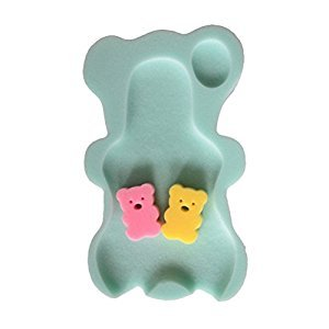 YeahiBaby Baby Bath Sponge Mat Non-slip Sponge Cushion with 2 Bear Shape Bath Sponge(light green)