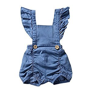 Perman Summer Baby Girl Denim Backless Ruffle Romper Jumpsuit Outfit Playsuit (12-18Months, Blue)